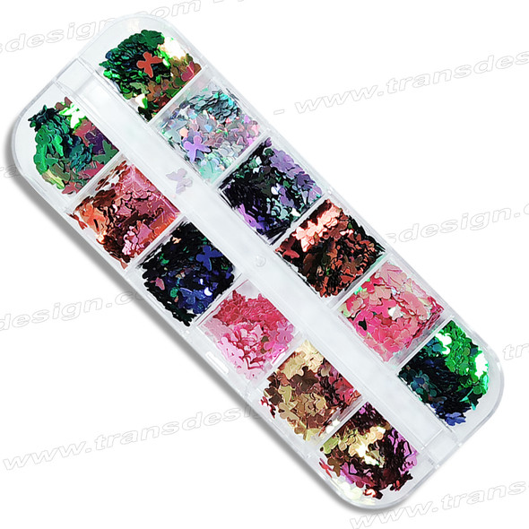 FOIL DIE CUT Butterfly 12 Colors/Compartment Box (Style B)