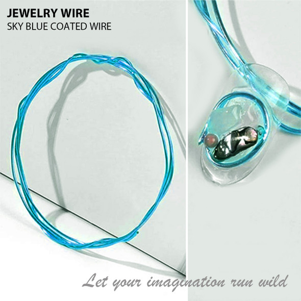 """JEWELRY WIRE Sky Blue 0.02"""" Diameter x 40"""" Length"""