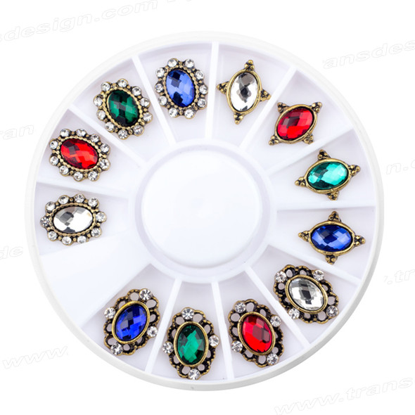 CHARM ALLOY Crystal Assorted Shape & Color 12/Pk #YPB-13