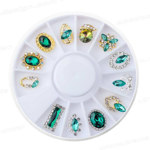 CHARM ALLOY Crystal Assorted Shape & Color 12/Pk #YPB-20