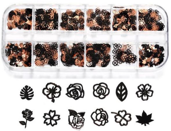 CHARM Flower & Leaf, Black & Rose Gold 12 Design/Case #RS-004