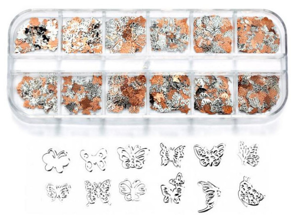 CHARM Butterfly, Silver & Rose Gold 12 Design/Case #RS-007