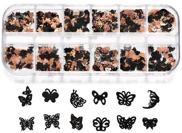 CHARM Butterfly Black & Rose Gold 12 Design/Case #RS-008
