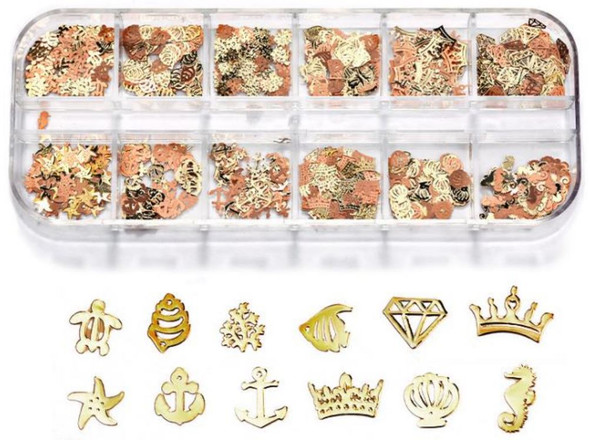 CHARM Assorted Gold & Rose Gold 12 Design/Case #RS-009