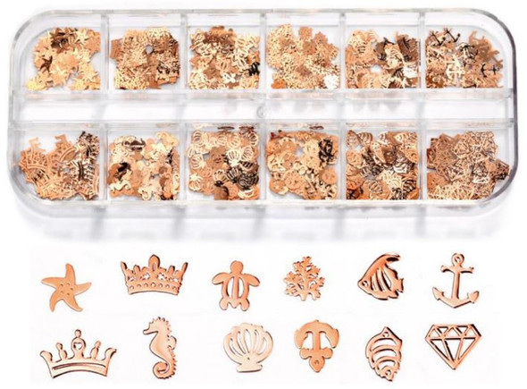 CHARM Assorted Rose Gold 12 Design/Case #RS-010