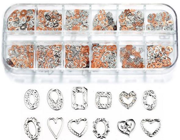 CHARM Heart & Frame Silver & Rose Gold 12 Design/Case #RS-015