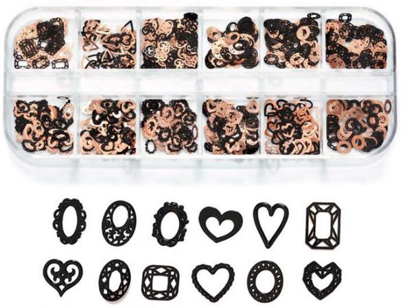 CHARM Heart & Frame Black & Rose Gold 12 Design/Case #RS-016