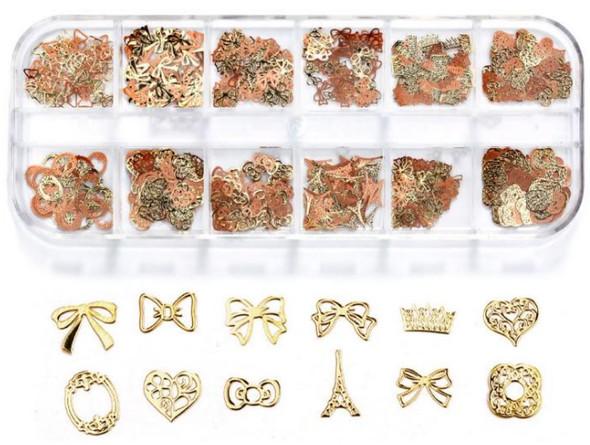 CHARM Assorted Gold & Rose Gold 12 Design/Case #RS-017