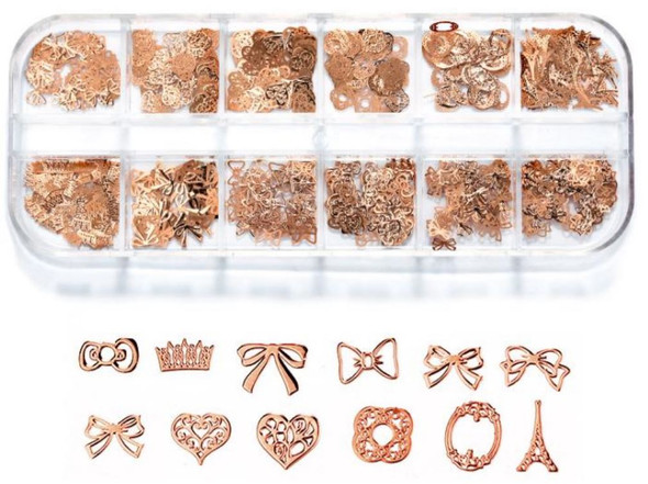 CHARM Assorted Rose Gold 12 Design/Case #RS-018