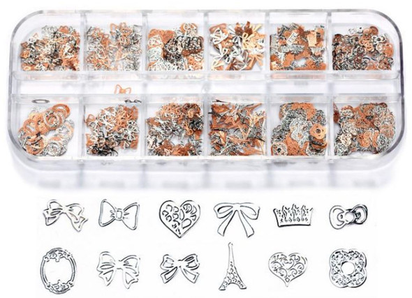 CHARM Assorted, Silver & Rose Gold 12 Design/Case #RS-019