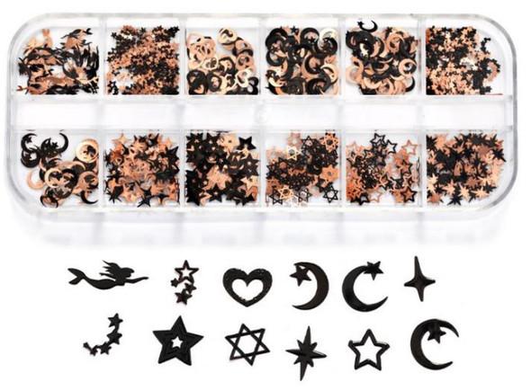 CHARM Assorted, Black & Rose Gold 12 Design/Case #RS-024