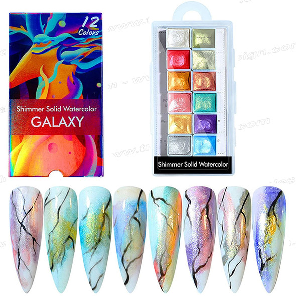 NAIL ART Shimmer Solid Water Color 12/Pack