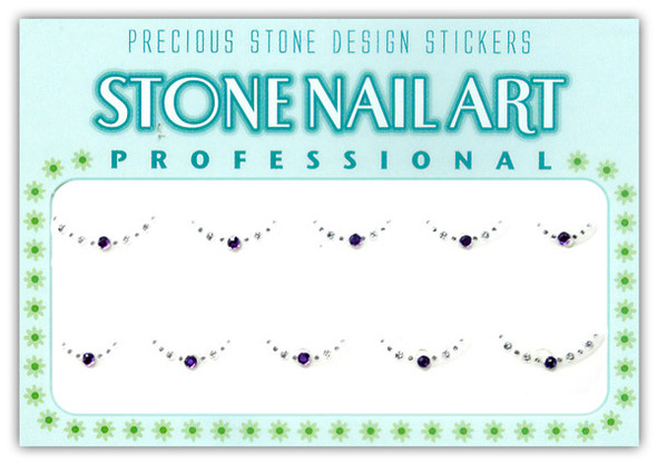 Stone Nail Art - Round Lt. Purple & Crystal Dots