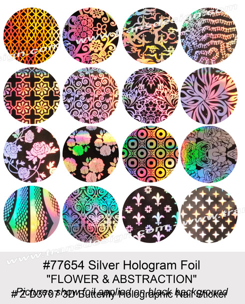 "NAIL FOIL Silver Hologram ""FLOWER & ABSTRACTION"" 16 Paterns/Pack"