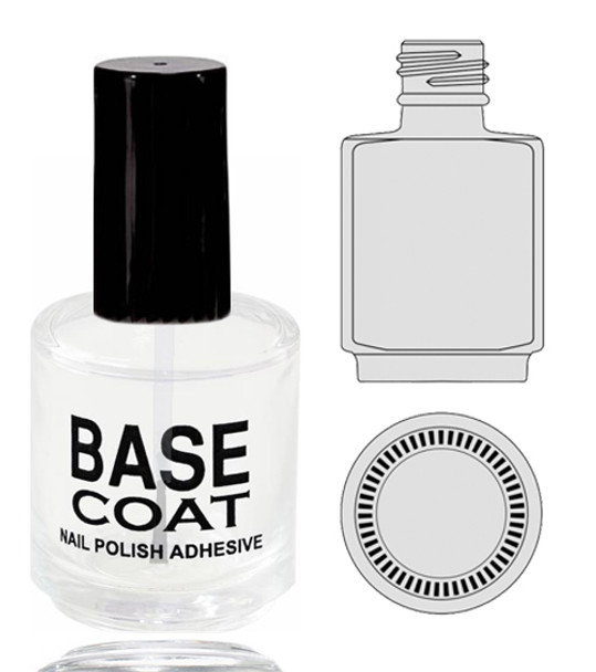 Empty Glass Bottle - 'BASE COAT' With Cap 0.5oz 90/Tray