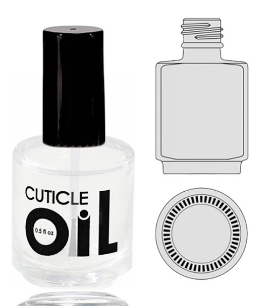 Empty Glass Bottle - 'Cuticle Oil' With Cap 0.5oz 90/Tray