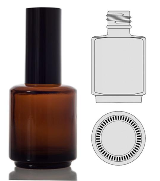 BOTTLES-Round Amber/Back Cap 0.5oz. 90/Tray