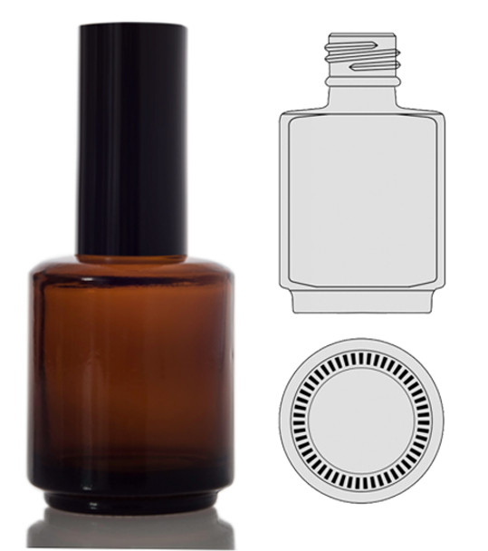 BOTTLES-Round Amber/Back Cap 0.5oz. 352/Box