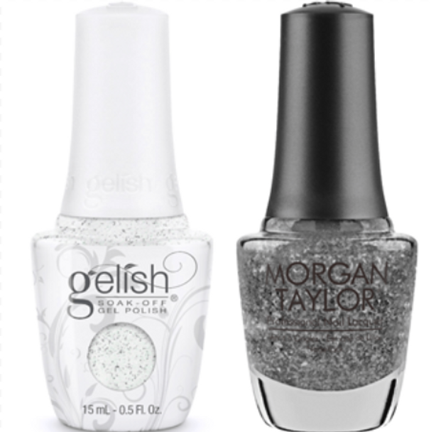 GELISH/MORGAN TAYLOR Two Of A Kind - Silver In My Stocking 0.5oz. 2/Pack*