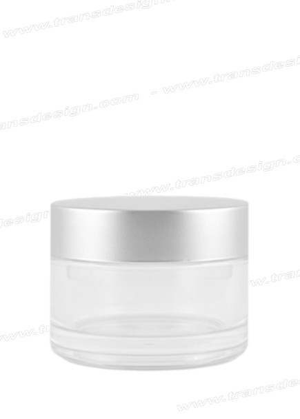 JAR-Clear Glass With Silver Liner Cap 2oz. (60ml)