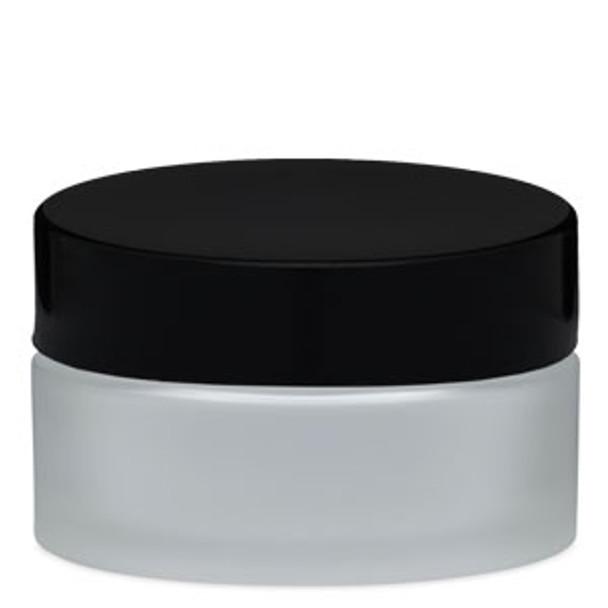 JAR-Empty Frosted Glass/Black Cap 2.66oz. (78ml)