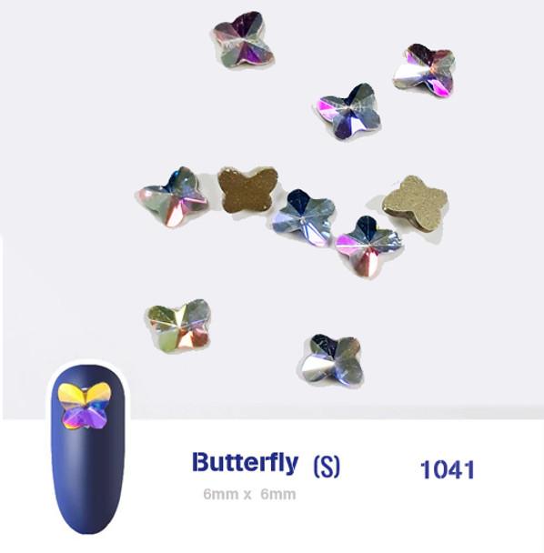 RHINESTONE-Super AB Crystal Butterfly  6x6mm 10pcs/Bag