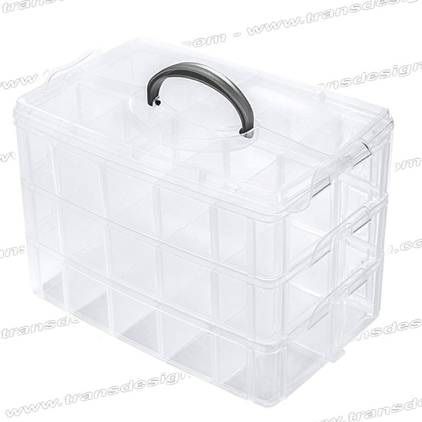 DL PROFESSIONAL-Stackable Clear Plastic 3-Tier Storage Large