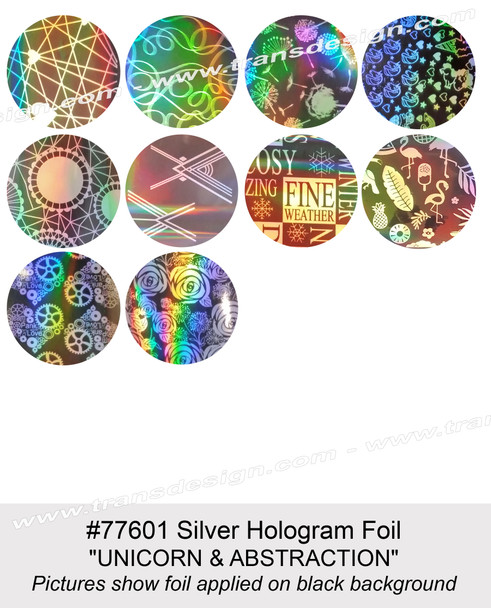 """NAIL FOIL Silver Hologram """"UNICORN & ABSTRACTION"""" 10 Paterns/Pack"""