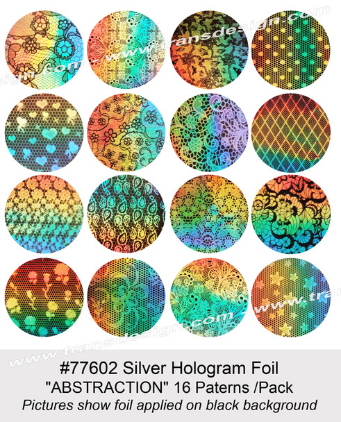 """NAIL FOIL Silver Hologram """"ABSTRACTION"""" 16 Paterns /Pack"""