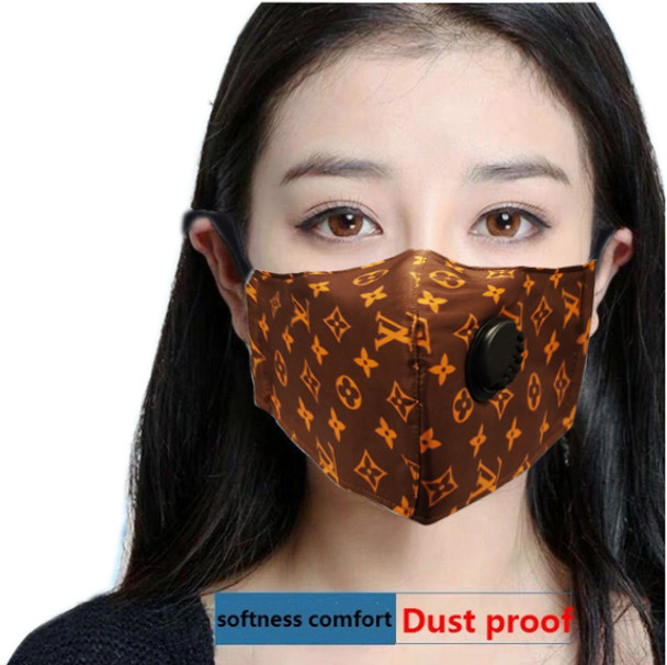 Reusable Face Mask Brown Pattern with Valve Breathing Filter