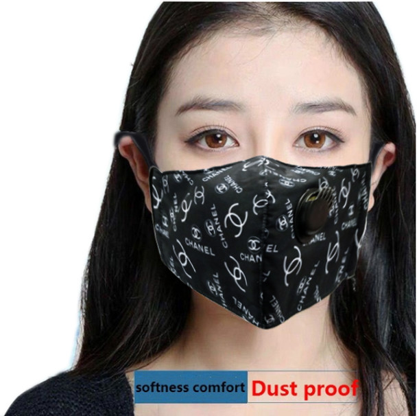 """Reusable Face Mask Black/White """"CC"""" Pattern with Valve Breathing Filter"""