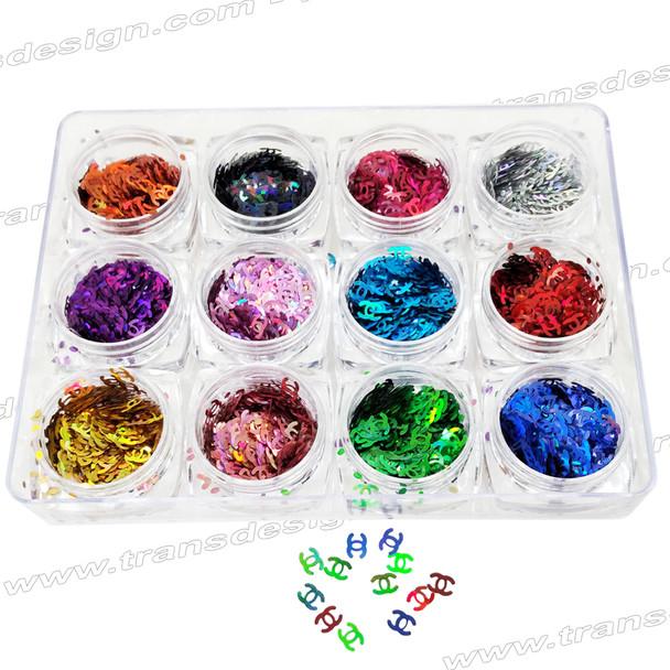 """HOLOGRAM FOIL """"CHANEL"""" Assorted Color 12 Jar/Case"""