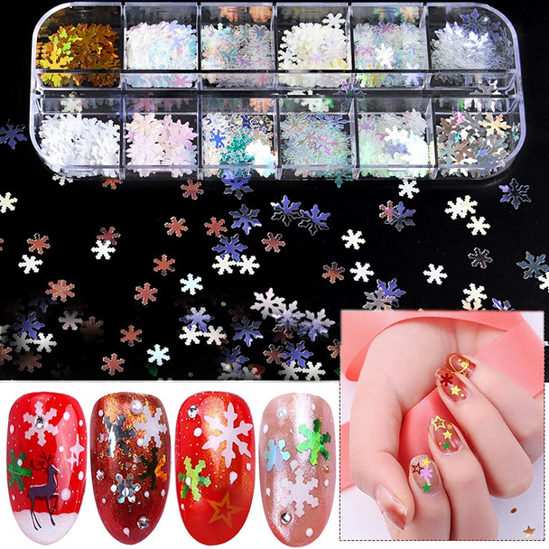 NAIL FOIL Hologram Assorted Snowflake 12 Compartment/Case