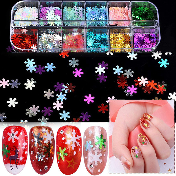 NAIL FOIL Hologram Assorted Snowflake 12 Compartment/Case.