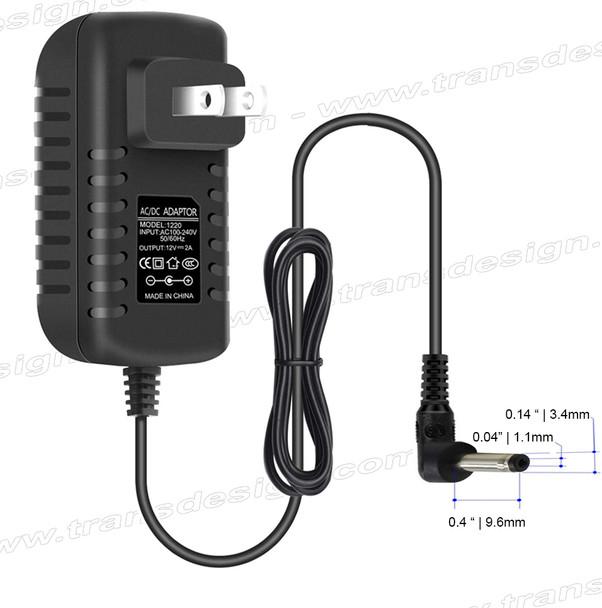 POWER ADAPTER 100-240VAC to 12VDC 2A. Mini Plug