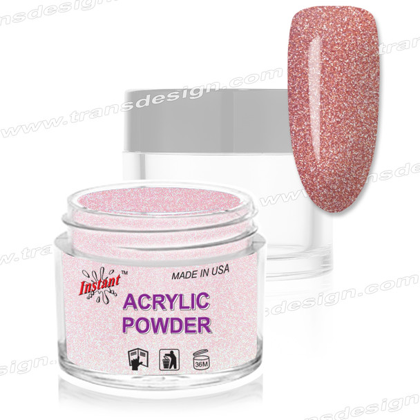 INSTANT ACRYLIC & DIP COLOR -  Rose Glitter 2oz.