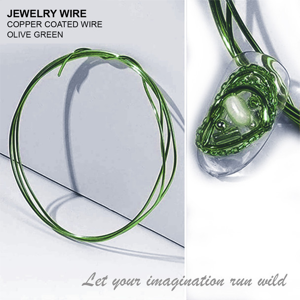 "JEWELRY WIRE Olive Green 0.02"" Diameter x 40"" Length"