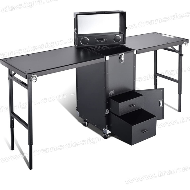 MANICURE DOUBLE TABLE Rolling, Black