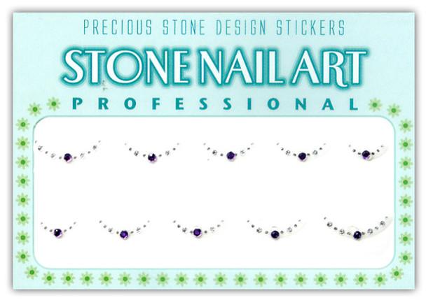 Stone Nail Art - Round Lt. Purple & Crystal Dots