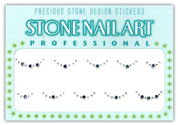 Stone Nail Art - Round Lt. Blue & Crystal Dots