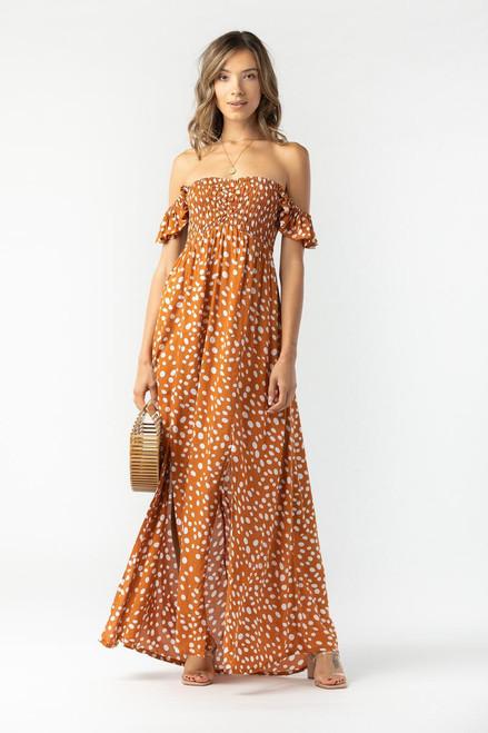 Hollie Long Dress in Pebbles Rust