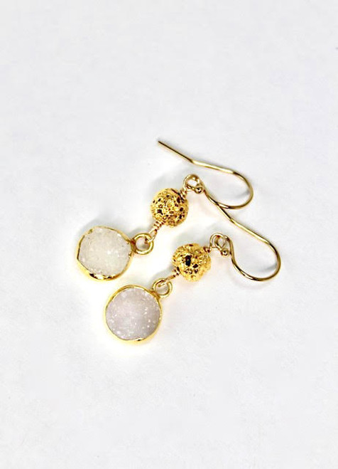 White Chalcedony Earring with Gold Dipped Lava Bead