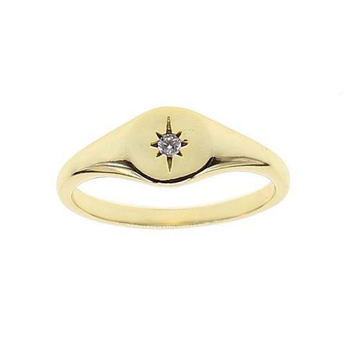 Starburst Signet Gold Pinky Ring (size 5)