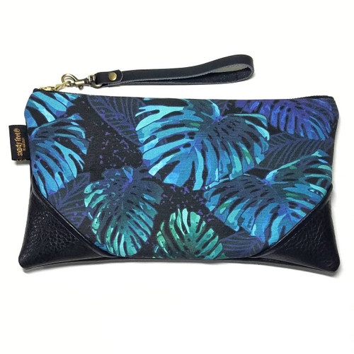 Midnight Monstera Faux Leather clutch