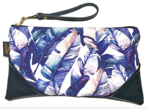 Watercolor Banana Palm Faux Leather clutch