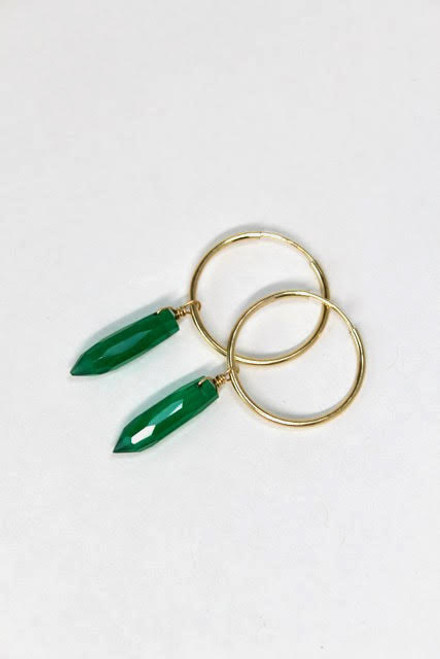Onyx Green Point Gold Filled Hoops