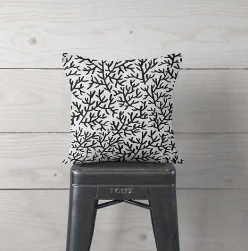 Black Coral Pillow Cover