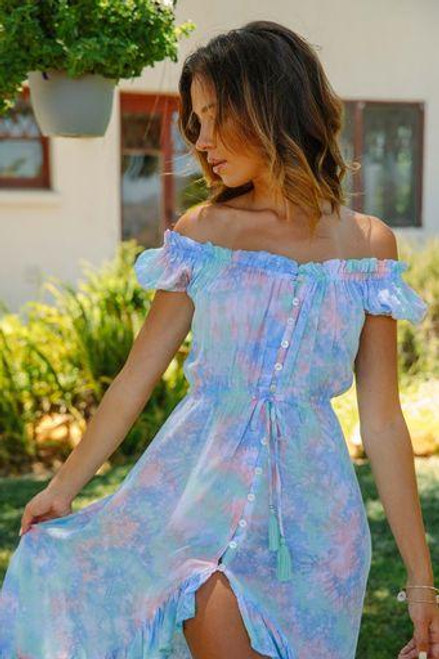 Riviera Dress in Peach Blue Tie-Dye