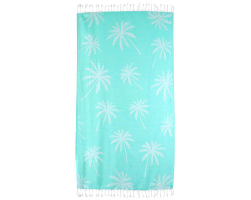 Palm Trees Beach Blanket - Teal