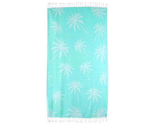 Palm Trees Beach Blanket - Teal